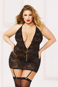 STM-10893X, Floral Lace Chemise with Gold Chain