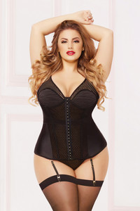 STM-10889X, Satin and Geo Mesh Bustiers Set