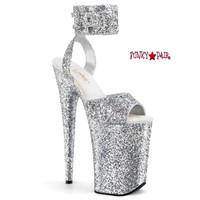 Infinity-991LG, 9 Inch High Heel Glitter Wide Ankle Strap Platform Sandal