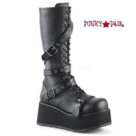 Trashville-520, 3.25 Inch Platform Lace-up Knee High Boots