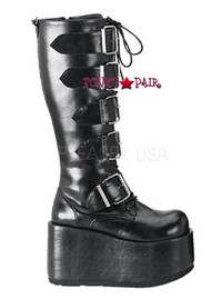 RIPSAW-518, Straps Knee High Boots Made by Demonia