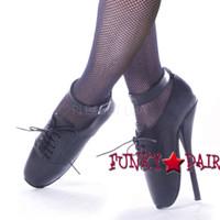 Black Leather 7 Inch High Heel fetish shoes ballet