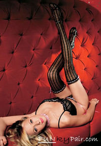 9227, Vertical Striped stockings with Satin Lace bow