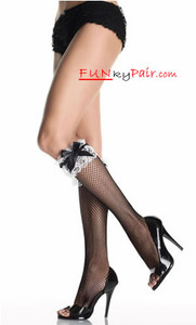 5583, Knee highs with lace ruffle and satin bow