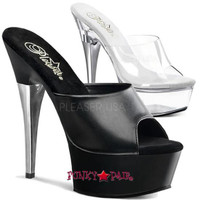 CAPTIVA-601, 6 Inch High Heel with 1.75 Inch Platform Slide with A Line Rhinestones on Heel