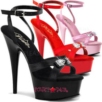 DELIGHT-636, 6 inch stiletto heel with 1.75 inch platform Satin Ankle Wrap Bow Sandal with Rhinestones Bow