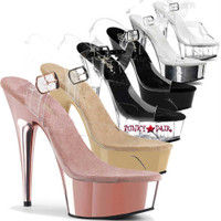 DELIGHT-608, 6 Inch High Heel with 1.75 Inch Platform Clear Ankle Strap Shoes