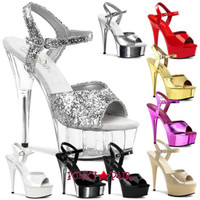 DELIGHT-609, 6 Inch Stiletto Heel Ankle Strap Platform Shoes