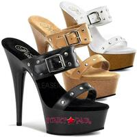 DELIGHT-602-9, 6 Inch High Heel with 1.75 Inch Platform Faux Wood with Studds and Buckles on Strap