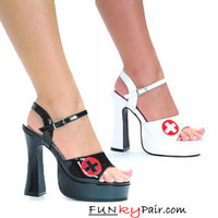 557-Betty, 5 Inch High Heel with 3/4 Inch Platform Chunky Heel Sandal w/nurses cross Made by ELLIE Shoes