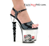 7 Inch Dice Heel Ankle Strap Platform Sandal w/Poker Chips and Dice Made By ELLIE Shoes