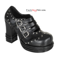 Vampire-08, Platform Heel Buckle Strap Studded Shoes Made by Demonia