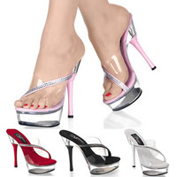 ALLURE-603, 5.5 Inch High Heel with 1.5 Inch Platform Slide with Rhinestones
