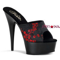 DELIGHT-601-8, 6 Inch High Heel with 1.75 Inch Platform Satin Cherry Blossom Sandal
