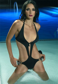 Halter monokini with chain sides *51026