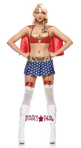 5Justic Girl Costume comes with underwire bra top, garter skirt with satin bows and star applique, clip-on cape, and head band.5
