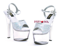 711-Flirt-G, 7 Inch High Heel with 2.75 Inch Platform Clear Dancer Heel Made By ELLIE Shoes