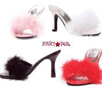 361-Sasha, 3.5 Inch High Heel Marabou Slipper