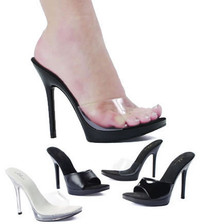 502-Vanity, 5 Inch High Heel Clear Sandal Made by ELLIE Shoes