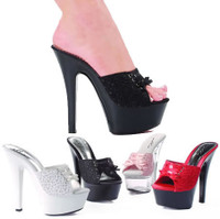 601-Bunny, 6 Inch High Heel with 1.75 Inch Platform Lace Sandal Made by ELLIE Shoes