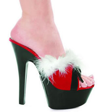 601-Plush, 6 Inch High Heel with 1.75 Inch Platform Sandal with Marabou and Buckles Made by ELLIE Shoes