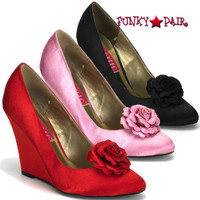 CAMILLE-01, 4 Inch High Heel Wedge Pump with Rose Made By Bordello
