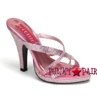 SIREN-02R, 4 Inch High Heel Rhinestones Criss Cross Slide Made By Bordello