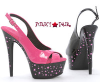 608-Stardust, 6 Inch High Heel with 1.75 Inch Platform Slingback Sandal with Stars Made by ELLIE Shoes