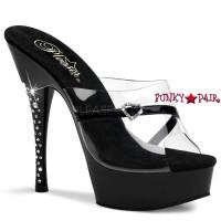 Diamond-601H, 5.5 inch high heel with 1.5 inch platform Rhinestones Embedded Heel with Heart Buckle