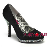 Temp-39, 4.5 Inch High Heel Basic Pump with Rhinestone Heel Made By Bordello