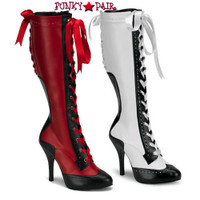Tempt-126, 4.5 Inch High Heel Lace up Knee high boot