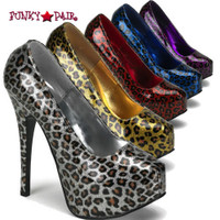 Teeze-37, 5.75 Inch High Heel with Cheetah Glitter Print Pump