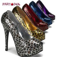 Teeze-37, 5.75 Inch High Heel with Cheetah Glitter Print Pump