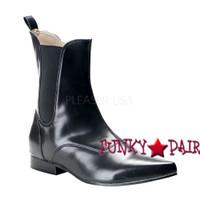Brogue-02 * Men Black Winklepicker Ankle Boot