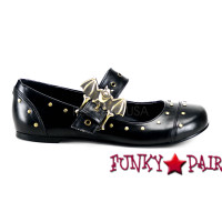DAISY-02, Maryjane Bat Buckle Flat With Rivet Detailing Made by Demonia