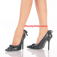 Milan-07, Stiletto Heel Leather Pump with Bows Made By PLEASER Shoes