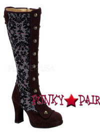 Crypto-301, 4 Inch High Heel Steampunk Victorian Knee High Boots