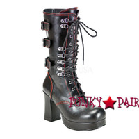 Gothika-101, Punk Lace Up Calf Women Punk boots Mady By Demonia