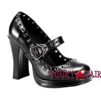 Crypto-05, 4 Inch High Heel Maryjane with Skull Buckles Strap Made by Demonia