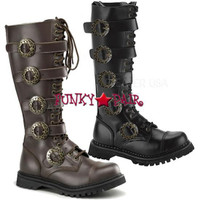 STEAM-20, 1.5 Inch Heel 20 Eyelets Steampunk with Straps Boots