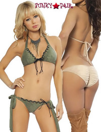 9001, Olive Tie-Side Bikini Set with Antique Eyelet Trim