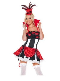 M0042, Queen of Hearts costume includes Dress with red collar ( hat and stocking not included hat-A8823)