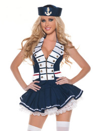 M0001, White Navy Stripes Sailor costume includes a vest, skirt and hat
