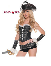 T0073, Sexy Rouge Pirate costume includes a corset, shorts, belt and cuffs (hat sold separately)