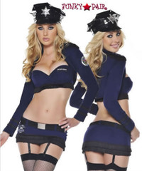 T0057, Top Cop costume includes, a bra, skirt, bolero jacket and hat