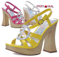 500-Funk, 5 Inch Chunky High Heel with 1 Inch Platform Peace sign Shoes Made by ELLIE Shoes