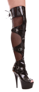 609-Tasha, 6 Inch Thigh High Fishnet Boot with Buckles * 609-Tasha * Made by ELLIE Shoes