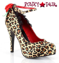 BP410-Huntress, 4 Inch High Heel Ankle Strap Leopard Pump Made By Bettie Page Shoes