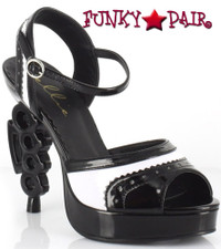 550-Capone, 5 Inch High Heel with 3/4 Inch Platform Brass Knuckles Spectators Sandal Made by ELLIE Shoes