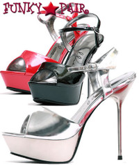 567-Juliet, 5 Inch Metallic Stiletto High Heel with 3/4 Inch Platform Sandal Made by ELLIE Shoes